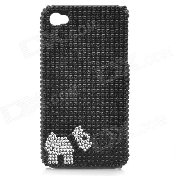Cute Puppy Pattern Protective Plastic CrystalBack Case for Iphone 4 / 4S - Black cartoon pattern matte protective abs back case for iphone 4 4s deep pink