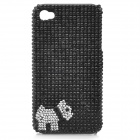 Cute Puppy Pattern Protective Plastic CrystalBack Case for Iphone 4 / 4S - Black