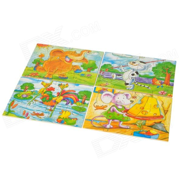 4 Animal Patterns Educational Toy Wooden Jigsaw Puzzle - Multicolored (4 PCS)