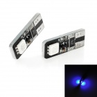 T10 1W 80lm 2-SMD 5050 LED Blue Light Decode Car Tail / License Plate Lamps (2 PCS / 12V)