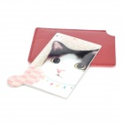 HOLI 049-01 Cat Head Pattern Portable Mirror - Pink + Red