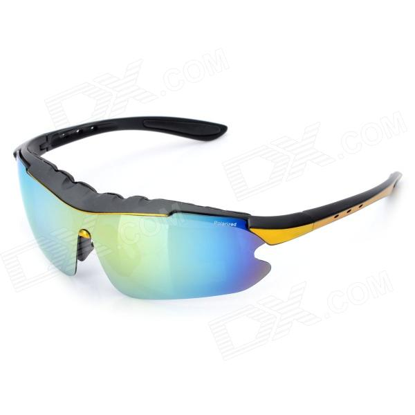 Outdoor Riding UV400 Resin Lens Eye Protection Polarized Lens Sunglasses - Black + Yellow
