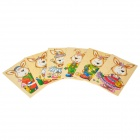 Cute Rabbit Pattern Educational Toy Wooden Jigsaw Puzzle - Multicolored (6 PCS)