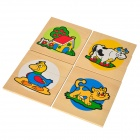 4 Patterns Educational Toy Wooden Jigsaw Puzzle - Multicolored (4 PCS)