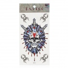 Skull and Sword Pattern Tattoo Paper Sticker - Blue + White + Red