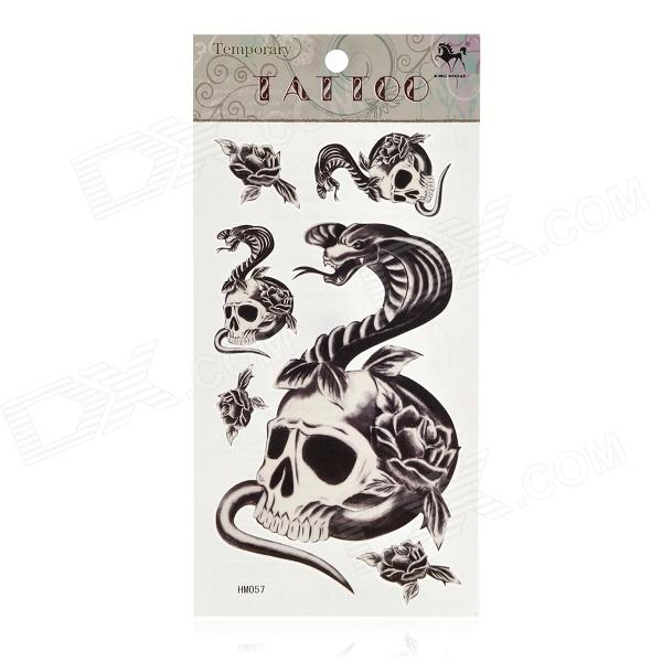 Skull and Snake Pattern Tattoo Paper Sticker - White + Black