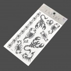 Scorpion Pattern Tattoo Paper Sticker - Black