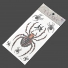 Spider Pattern Tattoo Paper Sticker - Black + Brown