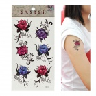 Rose Pattern Tattoo Paper Sticker - Red + Blue