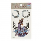 Angry Dragon Pattern Tattoo Paper Sticker - Blue + Purple + Black