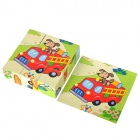 6 Patterns Educational Toy Wooden Jigsaw Puzzle - Multicolored (9 PCS)