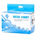 USB 6-LED White Light Desk Lamp w Clipe / Switch / - Branco + Prata (DC 5V / 3 x AAA)