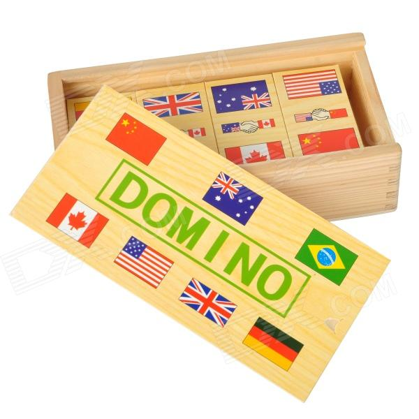 National Flags Pattern Wooden Solitaire Chips Toy - Multicolored