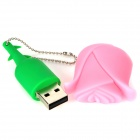 HD HD-0909 Rose Style USB 2.0 Flash Drive - Pink + Green (16GB)