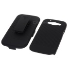 Plastic Hard Back Case + Rotatable Belt Clip Holder Stand for Samsung Galaxy S3 i9300 - Black