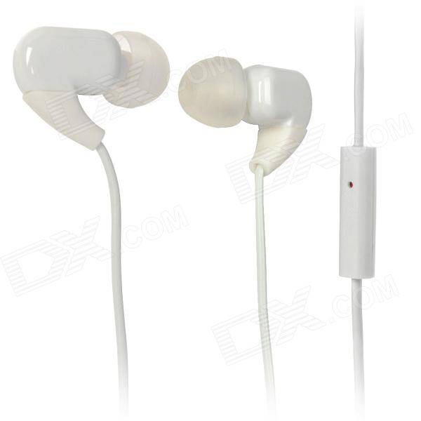 KS-M008 In-Ear Earphone w/ Microphone - White (3.5mm Plug / 115cm) awei stylish in ear earphone with microphone for iphone ipad more black 3 5mm plug