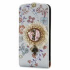 Flower Pattern Flip-Open Protective PU Leather Cover w/ Back Case for Iphone 4 / 4S - White