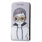 Boy Pattern Flip-Open Protective PU Leather Cover w/ Back Case for iPhone 4 / 4S - White