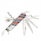 Stripes Style 12-in-1 Stainless Steel Multi-Function Knife - Blue + Orange + Purple + Silver