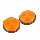 Decorative Round Reflective Plate for Motorcycle - Orange (2 PCS)