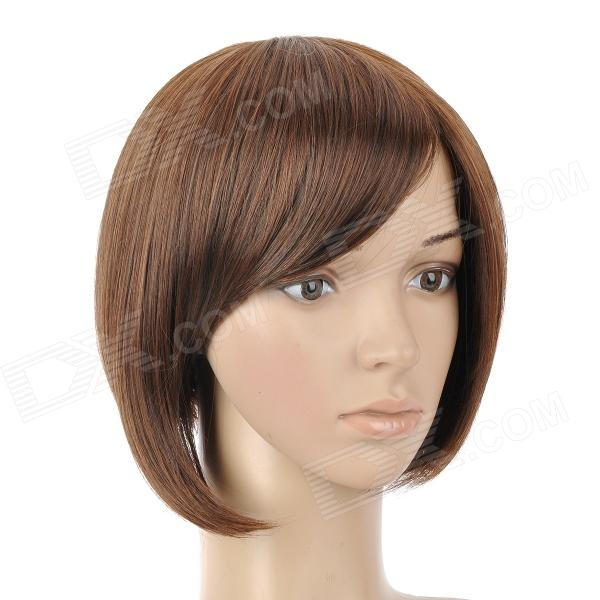 9974A 2/30 Fashion Lady's Diagonal Bangs Short Natural Straight Hair Wig - Brown