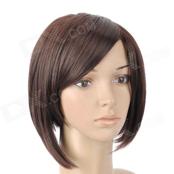 9974A 2/33 Fashion Lady's Diagonal Bangs Short Natural Straight Hair Wig - Deep Brown