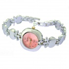 Fashion Apple Shaped Pink Dial Alloy Analog Quartz Wrist Watch for Women - Silver (1 x 626)