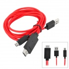 MHL Micro USB 11-Pin to HDMI Cable Adapter for Samsung Galaxy S3 i9300 - Red (187cm)