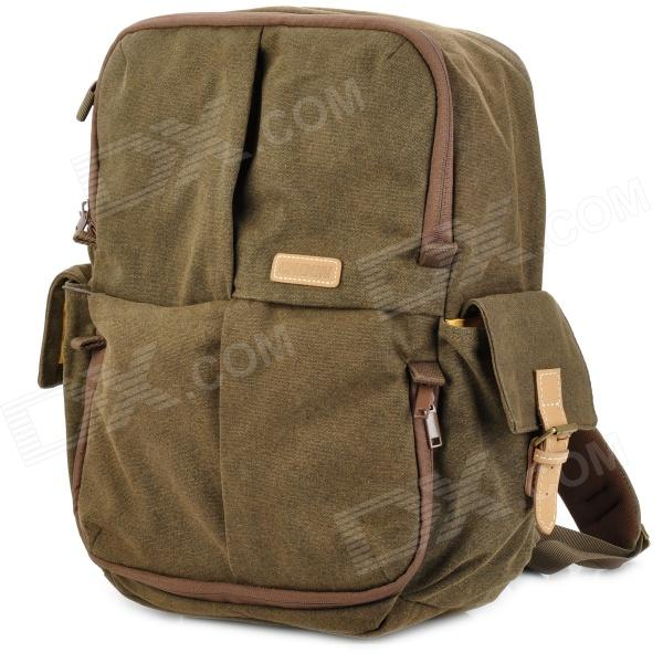 Garden N5 Professional Wear Resistant Canvas + Cow Leather Laptop Camera Backpack - Brown