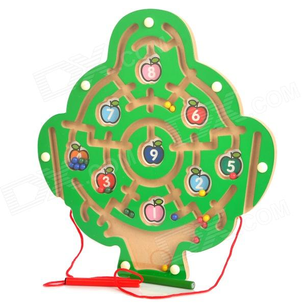 Digital Fruit Tree Style Wooden Magnetic Maze Toy - Green wooden magnetic labyrinth maze educational game toy