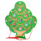 Digital Fruit Tree Style Wooden Magnetic Maze Toy - Green