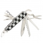 Checked Style 12-in-1 Stainless Steel Multi-Function Knife - Black + White + Silver