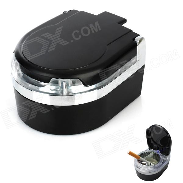 Car Ashtray with Blue LED Light - Black + Silver ashtray