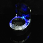 Car Ashtray with Blue LED Light - Black + Silver
