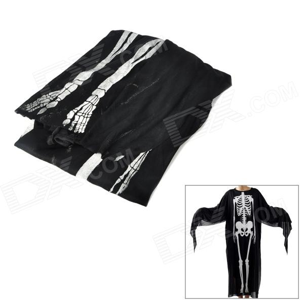 Creative Skeleton Ghost Pattern Adult Polyester Clothing - Black + White