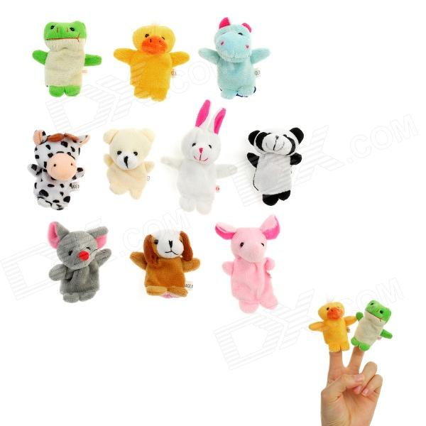 Cute Animals Figure Dolls Finger Puppets Plush Toys (10 PCS) new plush teddy bear toy cute blue heart and bow bear doll gift about 100cm