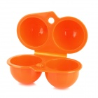 Portable Protective ABS 2-Compartment Egg Storage Box - Orange
