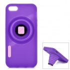 Protective Retractable Camera Style Silicone Back Case for Iphone 5 - Purple