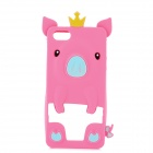Protective 3D Crowned Pig Style Silicone Back Case for iPhone 5 - Pink + White
