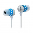 Kaerni KE-107 In-Ear Earphone for iPod / iPhone + More - White + Blue (3.5mm Plug / 127cm)