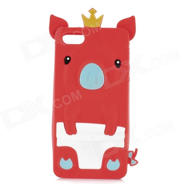 Protective 3D Crowned Pig Style Silicone Back Case for iPhone 5 - Red + White