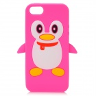 Cute 3D Penguin Style Protective Silicone Back Cover Case for Iphone 5 - Deep Pink