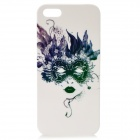 Elegant Flower Face Pattern Protective TPC Back Case for iPhone 5 - White