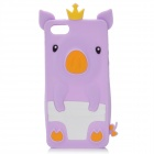 3D Crown Pig Style Protective Silicone Back Cover Case for iPhone 5 - Purple