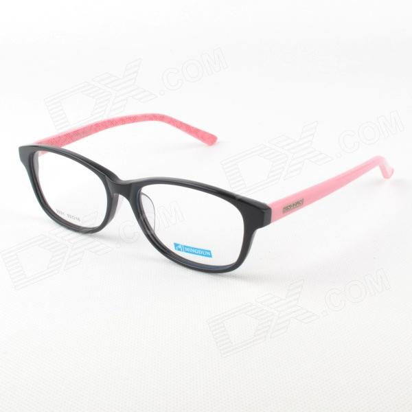 MINGDUN 9231 Women Cellulose Acetate Spectacles Frame w/ Case- Black + Pink