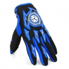 Scoyco A012-L Sporty Full-Finger Motorcycle Gloves - Black + Blue (Pair / Size L)