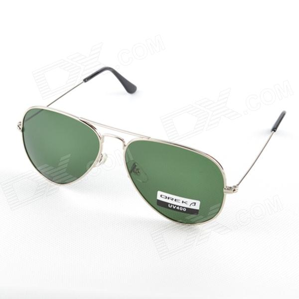 OREKA 1025 Stylish Nickel Alloy Frame Optical Glass Lens UV400 Protection Sunglasses - Silver