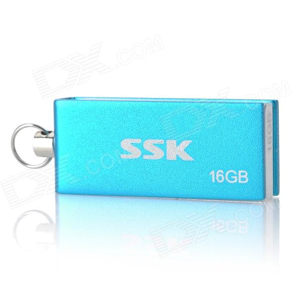 SSK SFD042 Rotation USB 2.0 Flash Drive - Blue + Silver (16GB) usb flash drive 16gb smartbuy x cut sky sb16gbxc sb