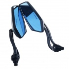 DIY Motorcycle Anti-Glare Back Rearview Mirrors - Black + Blue (Pair)