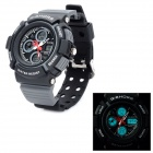Sports Waterproof Dual Time Display Wrist Watch w/ Alarm / Stopwatch - Black